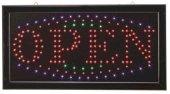 Hellum 300024 LED Schild Open mit Blink-Effekt 181 bunte LED's 48x25cm