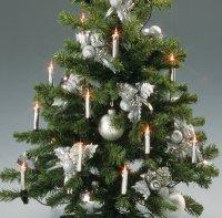 Hellum 622027 20 tlg. Minischaft Kerzen Lichterkette Silber-Metallic