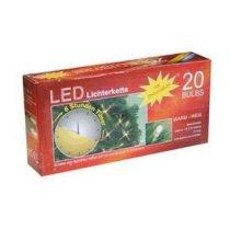 Idena 20er LED Lichterkette transparentes Kabel batterieb. Timer warm
