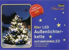 IDENA 80er Led-Lichterkette INNEN u. AUSSEN warm weiss