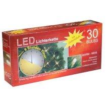 Idena 30er LED Lichterkette transparentes Kabel batterieb. Timer warm