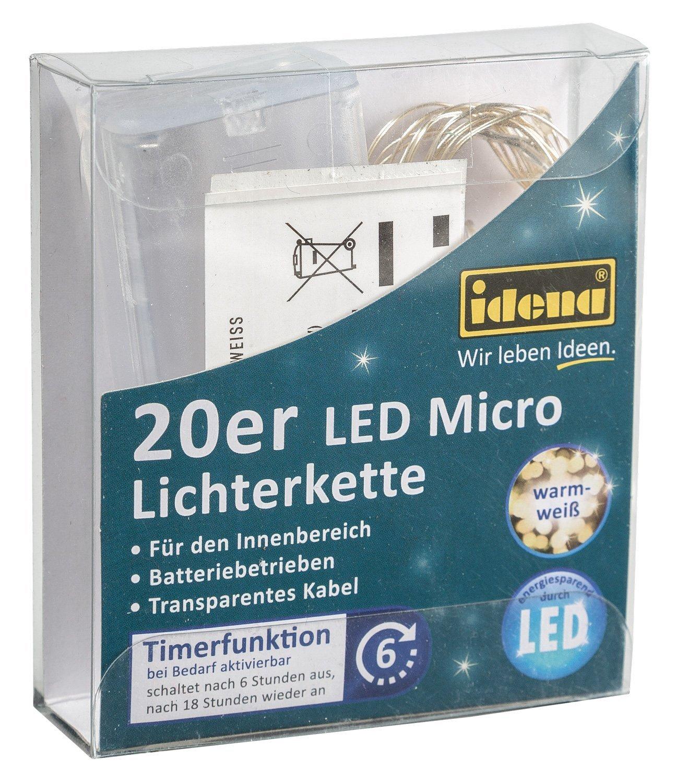 Idena 31118 LED Mircolichterkette 20er 6H-Timer warm-Weiß 22x8.5x2.3cm