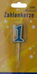 Geburtstagskerze Kerze Zahlenkerze 1 mit Spiess