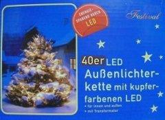 IDENA 40er Led-Lichterkette INNEN u. AUSSEN kupfer