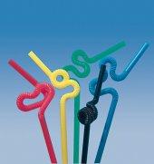 Trinkhalme mit Knoten und extralanger Flexizone bunt