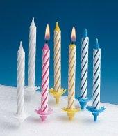 24 Geburtstagskerzen und 12 Halter Tortenkerzen