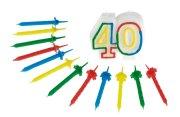 Geburtstag Jubiläums Kerze 40 mit 12 Kerzen Hochzeit Zahlenkerze