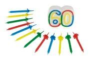 Geburtstag Jubiläums Kerze 60 mit 12 Kerzen Hochzeit Zahlenkerze