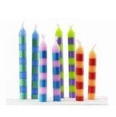 24 Geburtstagskerzen Tortenkerzen mit Streifen