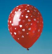5 Luftballons mit Druck Herzen kristall-rot U:96cm 30 cm Durchmesser