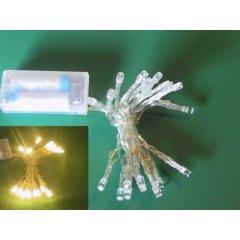 Foxy 10er Micro-LED-Lichterkette mit Batterie und Schalter warm-weiss