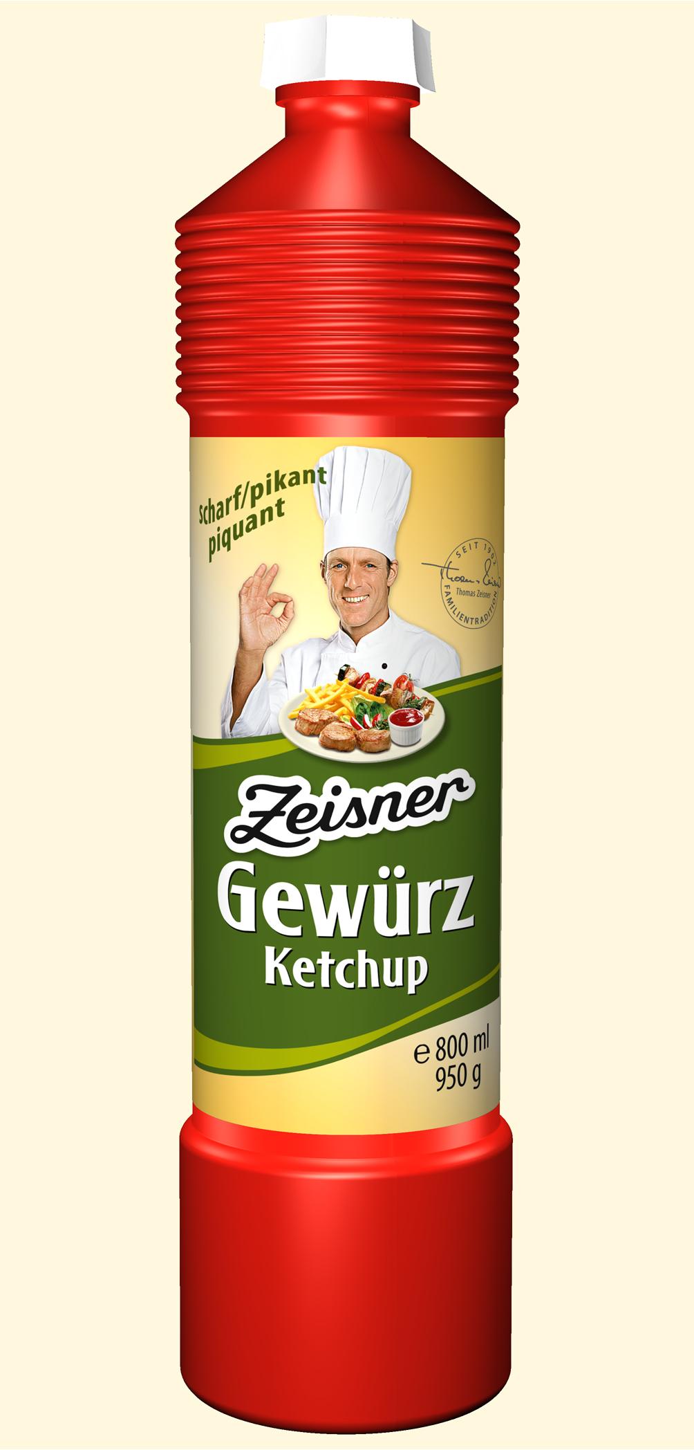 Zeisner Gewürz-Ketchup scharf 800ml Flasche