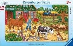 Ravensburger 06035 - Glückliches Bauernhofleben 15 Teile Rahmenpuzzle