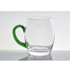 6 MF Weinseidel mit grünem Henkel Glas mit Eichstrich 0,25l