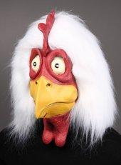 Latex-Maske Huhn mit Plüschhaar