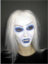 Latexmaske Gothic-Vampirin mit Haar