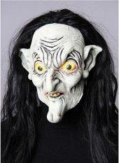 Latexmaske Hexe m. schwarzem Haar Hexermaske Hexenmaske