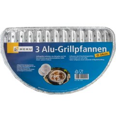 3 Alu-Grillpfannen 33x19cm, 75u Grillschalen BBQ halbrund