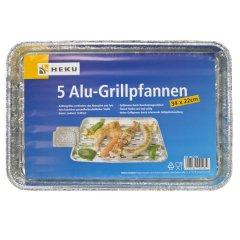 5 Alu-Grillpfannen 34x22cm, 70u Grillschalen BBQ