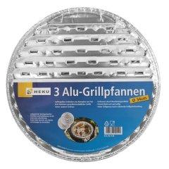 3 Alu-Grillpfannen Ø 34cm, 85u Grillschalen BBQ rund