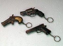 12 er Set Pistolen Schlüsselkette 10cm 3-fach sortiert
