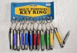 12 er Set Taschenmesser Schlüsselkette 9cm 4-fach sortiert