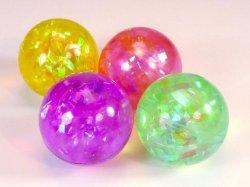 1 Stück Springball mit Licht u Glitzer Ø5,5cm Flummi Hüpfball Hoppball
