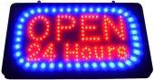 LED Leuchtschild OPEN 24 HOURS 230V, 40cm lang