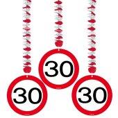 3er Pack Girlande Rotor-Spiralen Verkehrschild 30 Geburtstag Jubiläum