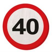 20 Servietten Verkehrsschild 40 Geburtstag Jubiläum