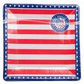8 Pappteller viereckig USA 25cm Teller
