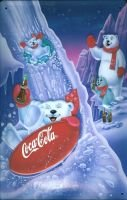 Coca Cola Sliding Bears Blechschild 20x30cm