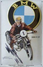 BMW Motorrad R 37 nostalgisches Blechschild 20x30cm schw. Qualität