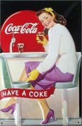 Coca Cola Dinner Lady nostalgisches Blechschild 20x30cm schw. Qualität
