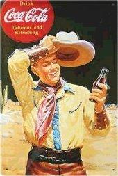 Coca Cola Cowboy nostalgisches Blechschild 20x30cm schwere Qualität