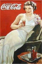 Coca Cola Night Out Lady nostalg. Blechschild 20x30cm schw. Qualität