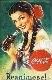 Coca Cola Reanimese ! nostalg. Blechschild 20x30cm schwere Qualität