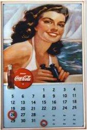 Coca Cola Dauer Kalender nostalg. Blechschild 20x30cm schwere Qualität