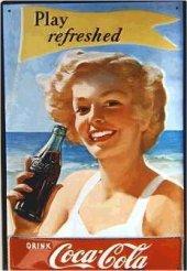 Coca Cola Play refreshed nostalg. Blechschild 20x30cm schwere Qualität