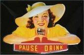 Coca Cola Pause Drink nostalg. Blechschild 20x30cm schwere Qualität