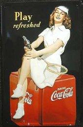 Coca Cola Tennis Girl nostalg. Blechschild 20x30cm schwere Qualität