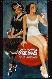 Coca Cola 50th Anniversary nost. Blechschild 20x30cm schwere Qualität