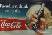 Coca Cola Friendliest Drink nost. Blechschild 20x30cm schwere Qualität