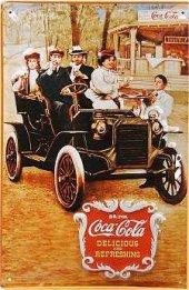 Coca Cola Antique Car nostalg. Blechschild 20x30cm schwere Qualität