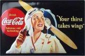 Coca Cola Fliegerfrau nostalg. Blechschild 20x30cm schwere Qualität