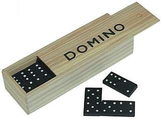 Domino 28 Steine in Holzbox / Holzkiste