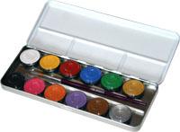 Eulenspiegel 12-Farben Metall-Palette Schminkpalette