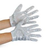 1 paar Popstar Handschuhe kurz Pailletten silber Kindergrösse