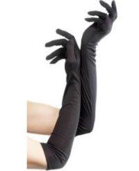 1 paar Stoff Handschuhe lang ca. 60 cm schwarz