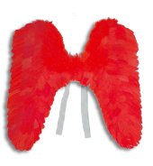 Engelsflügel rot aus Federn